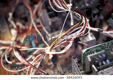 Cables coming out from electronic equipment - stock photo