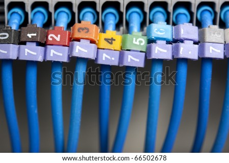 Cables from  Electrical panel - stock photo