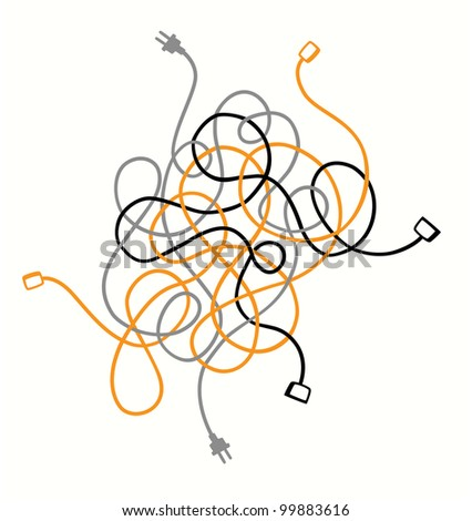 Cables in mess, a problem to resolve. Vector version also available in my portfolio.