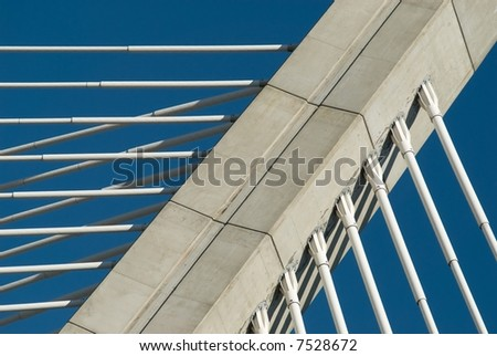Cables of a bridge pylon - stock photo