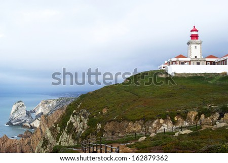 Cabo da Roca in Portugal - west most point of Europe - stock photo