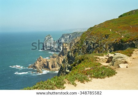 Cabo de Roca, the Westernmost point of Europe in Cascais-Sintra National Park, Portugal - stock photo