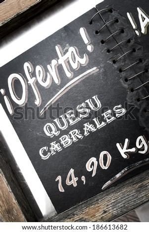Cabrales cheese sale, Asturias, Spain - stock photo