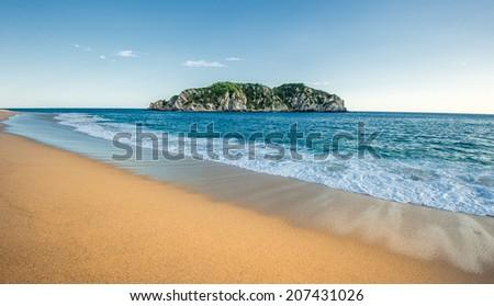 Cacaluta beach in Huatulko, Oaxaca, Mexico - stock photo