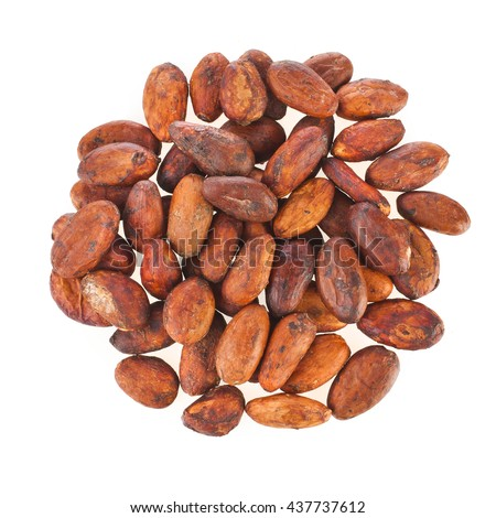 Cacao beans isolated on a white background, top view - stock photo