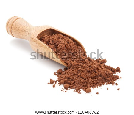 cacao powder isolated on white background - stock photo