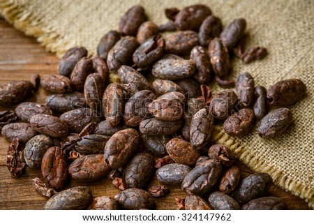 Cacao raw peeled beans on a wooden spoon on jute - stock photo