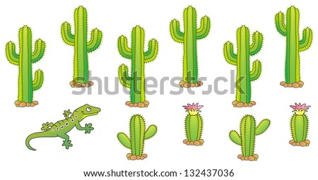 Cactus and lizard. Desert theme. Raster version, vector file also included in the portfolio. - stock photo