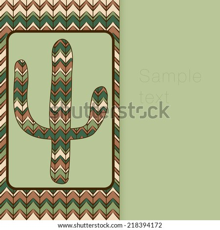 cactus greeting card. Use as backdrop, greeting card - stock photo