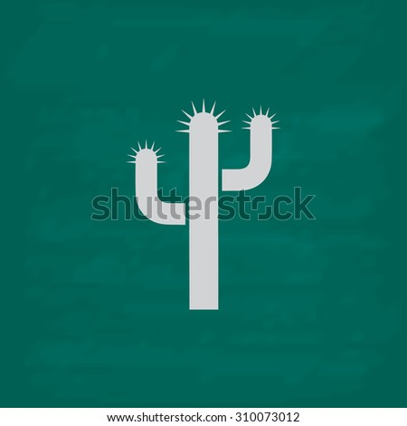 Cactus.  Icon. Imitation draw with white chalk on green chalkboard. Flat Pictogram and School board background. Illustration symbol - stock photo