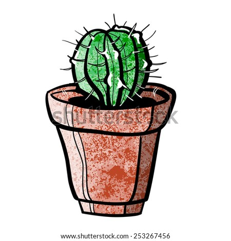 cactus in pot. A children's sketch. Color image - stock photo