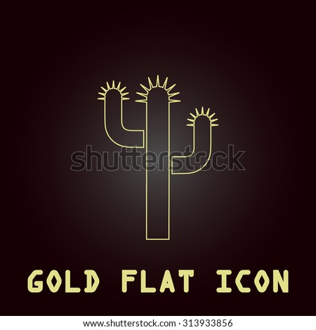 Cactus. Outline gold flat pictogram on dark background with simple text. Illustration trend icon - stock photo