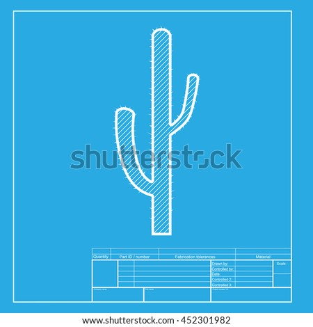 Cactus simple sign. White section of icon on blueprint template. - stock photo
