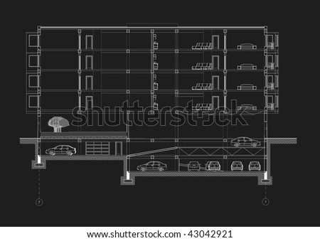 CAD Architectural Five storey building section drawing   Black on White