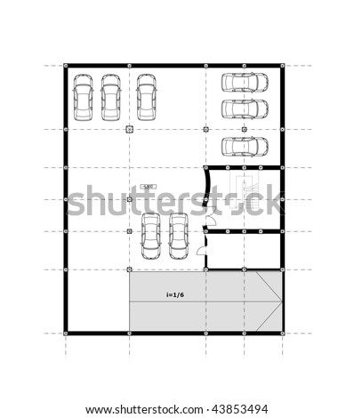 Cad Architectural Plan Drawing Underground Car Stock Illustration