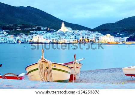 Cadaques, Costa brava spain: at dusk with fishing boats.  - stock photo