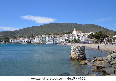 Cadaques, Spain - 16 May: The shoreline of Cadaques village, famous tourist destination where Dali's house is located. - 16 May, 2015. CADAQUES, SPAIN.