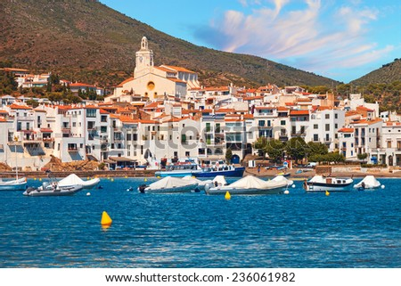 Cadaques village beach, Catalonia, Costa Brava, Spain - stock photo
