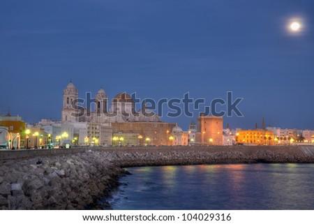Cadiz cathedral is a  Roman Catholic church considered to be a landmark for Cadiz city. - stock photo