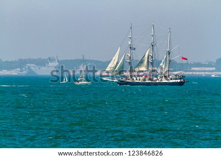 CADIZ, SPAIN - JUL 29: English  Ship, Lord Nelson setting sail on the Tall ship races 2012 on July 29 , 2012, in Cadiz , Spain