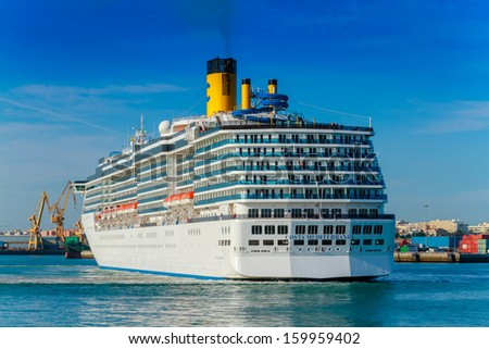 CADIZ, SPAIN - JUN 04: Grand-class cruise ship  Costa Mediterranea at the harbor of Cadiz on Jun 04, 2012 in Cadiz, Spain