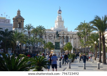 CADIZ, SPAIN - 9 NOVEMBER, 2018: Cádiz is an ancient port city in southwest Spain, built on a strip of land surrounded by the sea in the Andalusia region.