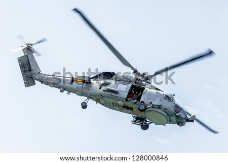CADIZ, SPAIN-SEP 13:  Helicopter SH-60B Seahawk taking part in an exhibition on the 2nd airshow of Cadiz on Sep 13, 2009, in Cadiz, Spain