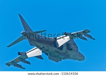 CADIZ, SPAIN-SEPT 11: Aircraft AV-8B Harrier Plus taking part in an exhibition on the 4th airshow of Cadiz on Sept 11, 2011, in Cadiz, Spain