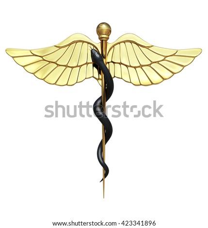 Caduceus Medical Symbol and Black Snake. 3D illustration - stock photo