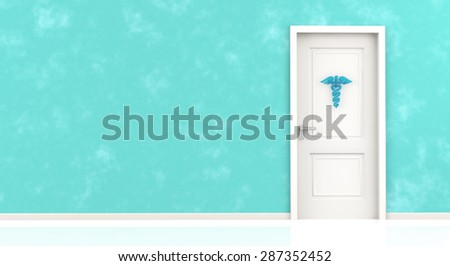 caduceus symbol hanging on closed door in a blue wall - stock photo