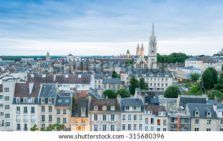 Caen - City view from Chateau top - France.