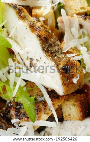 Caesar chicken salad with grated parmesan background - stock photo
