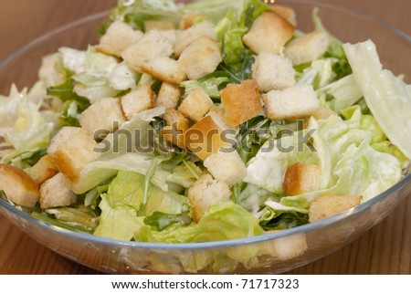 Caesar Salad, healthy with roasted bread