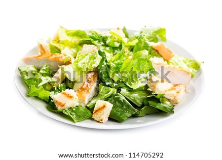 Caesar salad on a white background - stock photo