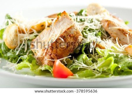 Caesar Salad with Chicken Fillet and Parmesan Cheese - stock photo