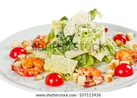 Caesar Salad with shrimps - stock photo