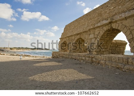 Caesarea, Israel.  Ruins of a Roman settlement at the shore of the Mediterranean.