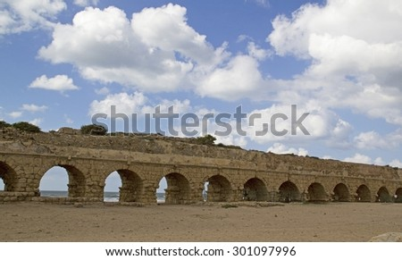 Caesarea Maritima-called Caesarea Palaestina from 133 AD onwards, was a city and harbor built by Herod the Great about 25â??13 BC. Today, its ruins lie on the Mediterranean coast of Israel - stock photo