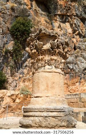 Caesarea Philippi in Israel, source of the Jordan River and worship of Pan - stock photo