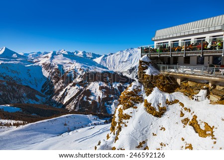 Cafe at Mountains ski resort Bad Gastein Austria - nature and sport background - stock photo
