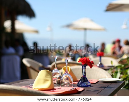 Cafe at the tropical resort - stock photo