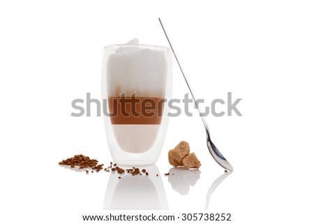 Cafe au lait on white background. Culinary cafe au lait. - stock photo