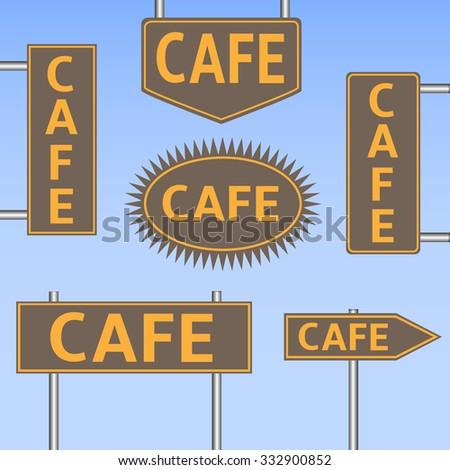 Cafe banner set on the sky background. Raster illustration - stock photo