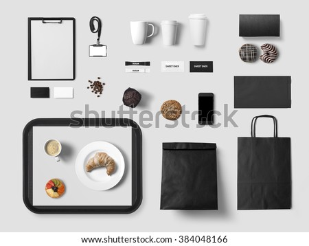 Cafe branding mock up for your design presentation, top view, black style - stock photo