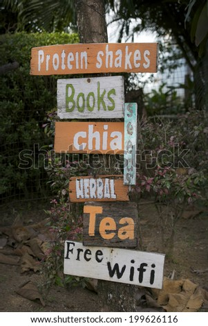 Cafe entrance selling coffee, tea and drinks. - stock photo