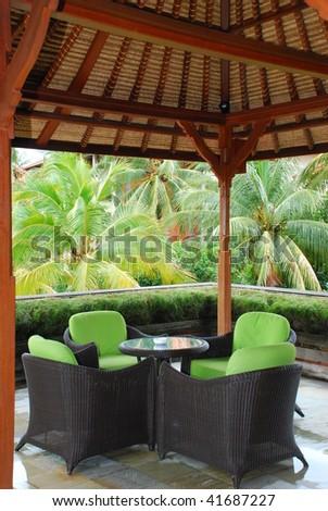 Cafe in hotel territory, Bali, Indonesia - stock photo