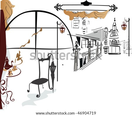 Cafe in the city - stock photo