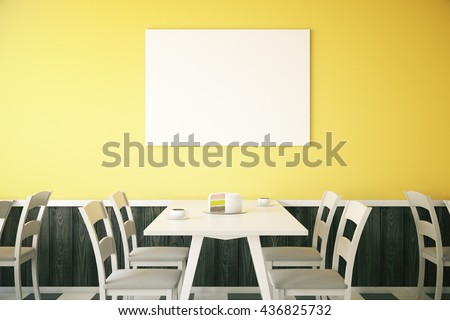 Cafe interior with cake on table and blank poster on bright yellow wall. Mock up, 3D Rendering - stock photo
