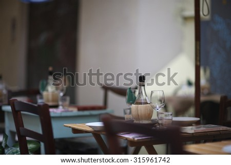 Cafe interior with wooden furniture