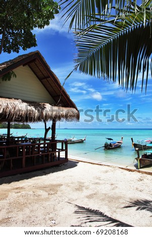 Cafe on the beach, Koh Phi Phi don in Thailand - stock photo